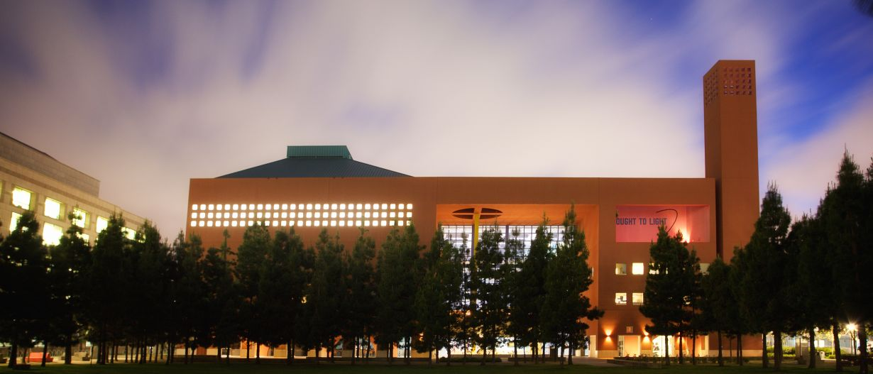 recreation center building at dusk.
